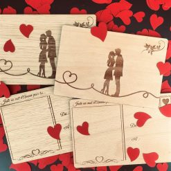 carte postale bois couple ensemble