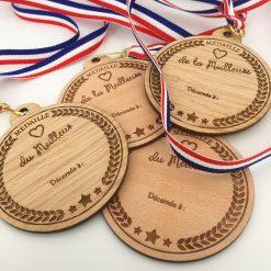 médaille bois personnalisable hetre et chene