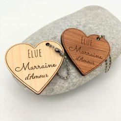 Porte-clés bois marraine d'amour ensemble